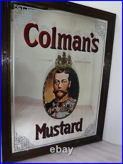 Vintage Large Original Colmans Mustard Mirror Picture Frame Sign. Retro & Cool