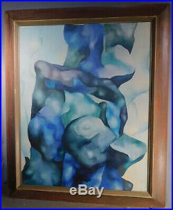 Vintage Modern Biomorphic Abstract Oil Painting John Wells Mid Century Picture F