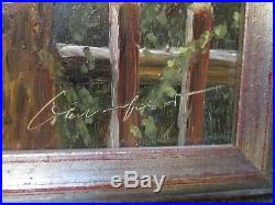 Vintage Photo Realism Painting Cat Kitten Sitting On A Fence Signed With Coa