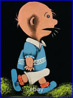 Vintage Velvet Art Signed Original Peanuts Charlie Brown Snoopy Framed Picture
