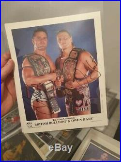 WWF British Bulldog And Owen Hart Signed Picture Framed