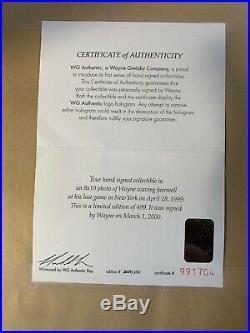 Wayne Gretzky Rangers Final Game signed 8 X 10 photo framed auto Steiner WGA COA