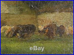 William Keith Tonalist Oil Painting Cows Ranch MASSIVE picture frame California