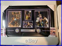 Wilt Chamberlain Kareem Abdul-Jabbar Autograph Signed Lakers 8x10 Framed JSA