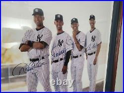 Yankees CORE 4 Derek Jeter Mariano Rivera Auto SIGNED 16x20 Photo Framed STEINER